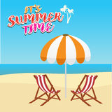 Summer vacation, tourism, travel, holidays and people concept, deck chair and umbrella on beach. Summer vacation, tourism, travel, holidays and people concept royalty free illustration