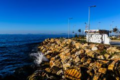 Summer Vacation Town Sea Port. Skyline of a summer town named Cinarcik located in Marmara region of the country Turkey. For such a small region compared to the stock photo
