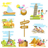 Summer vacation and travel adventure vector templates Royalty Free Stock Image