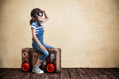 Summer vacation and travel concept. Child pretend to be sailor. Kid having fun at home. Summer vacation and travel concept Stock Photography