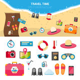 Summer Vacation Travel Concept Icons Set. Summer vacation and sea resort travel concept with flat icons set  vector illustration Stock Photos