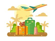 Summer Vacation, Travel flat illustration Stock Images