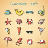 Summer vacation travel icons set. Of icecream cocktail seashell and beach chair isolated vector illustration Stock Image