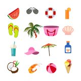 Summer vacation travel icons set. Summer on beach icon collection vector illustration Royalty Free Stock Image