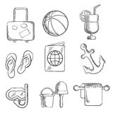 Summer vacation and travel sketched icons Stock Photo