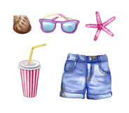 Summer vacation travel stuff, beach holidays objects: shorts,sunglasses, coconut, shell, plumeria flower. Watercolor illustration Stock Photos