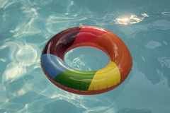Summer vacation and travel to ocean, Bahamas. Maldives or Miami beach. Relax in spa luxury swimming pool. colorful swim. Ring or lifebuoy. inflatable ring float royalty free stock photos