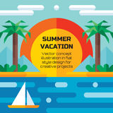 Summer vacation travel - vector concept illustration background in flat style design. Holiday paradise flat illustration. Royalty Free Stock Photos