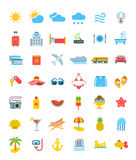 Summer vacation travel vector icons. Summer travel icons. Vector flat symbols of sea vacation elements. Weather pictograms, transport for traveling, hotel Royalty Free Stock Photos
