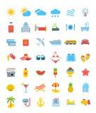 Summer vacation travel vector icons Royalty Free Stock Photos