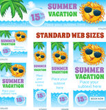 Summer Vacation Travel Web Banners Set Stock Photography