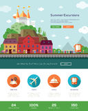 Summer vacation traveling website template with header and icons Royalty Free Stock Photography