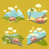 Summer vacation trip icons set Royalty Free Stock Photography