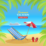 Summer Vacation on Tropical Beach Illustration Royalty Free Stock Photos