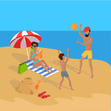 Summer Vacation on Tropical Beach Illustration Royalty Free Stock Image