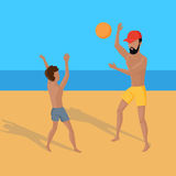 Summer Vacation on Tropical Beach Illustration Royalty Free Stock Images