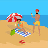 Summer Vacation on Tropical Beach Illustration Stock Photography