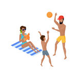 Summer Vacation on Tropical Beach Illustration Stock Images