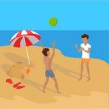 Summer Vacation on Tropical Beach Illustration Stock Photo