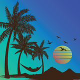 Summer vacation. On tropical beach Sunset with Palm trees background ,vector illustration Stock Photography