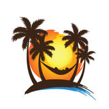 Summer vacation. On tropical beach sunset with Palm trees ,vector illustration Stock Photos