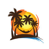 Summer vacation. On tropical beach sunset with Palm trees ,vector illustration Royalty Free Stock Images