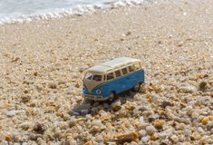 Summer vacation on tropical island on the background vintage car van bus volkswagen with suitcase, beautiful nature with. Sea ocean water stock images