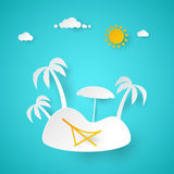 Summer Vacation. Tropical Island with Palm Tree. Cut Paper Illustration Royalty Free Stock Photos