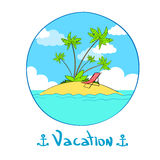 Summer Vacation Tropical Ocean Island Logo Hand Stock Photos