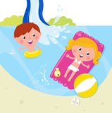 Summer vacation: two children swimming in the pool. Cute kids in pool with fresh water. Vector Illustration Royalty Free Stock Image