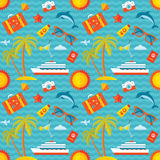 Summer vacation vector background seamless pattern in flat style design. Stock Images