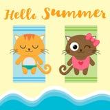 Summer vacation vector card Stock Photos