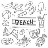 Summer Vacation Vector Doodle royalty free illustration