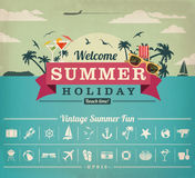 Summer vacation vector file. A summer vector file with a set of icons to adjust stock illustration