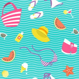 Summer vacation vector flat style seamless background pattern Stock Image