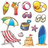 Summer Vacation. Vector illustration of Cartoon Summer Vacation set stock illustration
