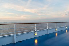 Summer vacation, wanderlust. Shipboard on idyllic seascape on evening sky. Ship board in miami, usa in blue sea. Water travel, voy. Age, journey. Adventure Royalty Free Stock Photo