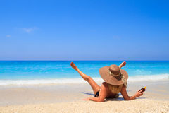 Summer vacation woman on beach Royalty Free Stock Image