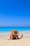 Summer vacation woman on beach stock photos
