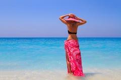 Summer vacation woman on beach Stock Photo