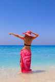 Summer vacation woman on beach Stock Photos