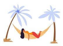 Woman lying in hammock under palms isolated character. Summer vacation woman lying in hammock under palm trees isolated female character relax and recreation stock illustration