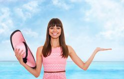Summer vacation woman pink dreess hat Stock Image