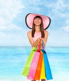 Summer vacation woman pink dreess hat Stock Photo