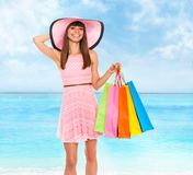Summer vacation woman pink dreess hat Royalty Free Stock Photography