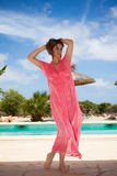 Summer vacation woman by pool Royalty Free Stock Image