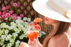 Summer vacation woman smile drink tropical cocktail Royalty Free Stock Photo