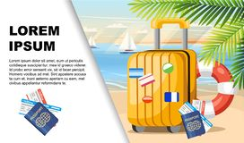 Summer vacation. Yellow luggage, passport, ticket on summer beach. Beach background with green palm leaves. Flat vector. Illustration with place for text royalty free illustration