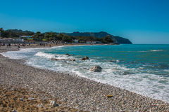 Summer vacationers on the beach of Portonovo Royalty Free Stock Images