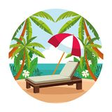 Summer and vacations, beach cartoons. Beach with sunchair and umbrella scenery cartoons round icon vector illustration graphic design stock illustration